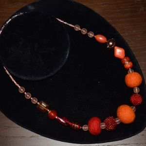 Funky Furry Vintage Boho Bead Statement Necklace